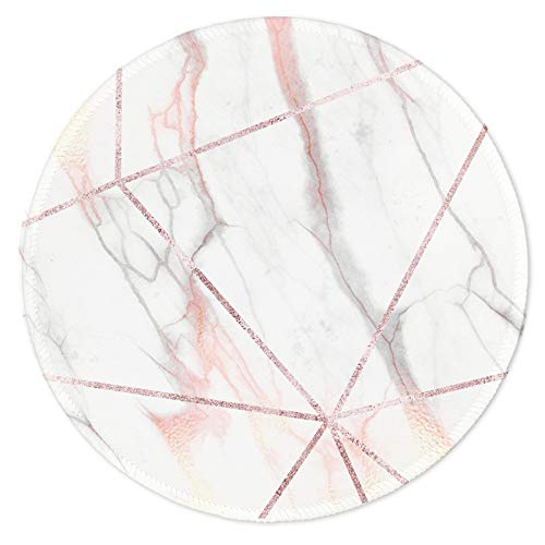Nakapa Mouse Pad,Anti Slip Rubber Round Mousepads Desktop Notebook Mouse Mat for Working and Gaming (Marble Linear)