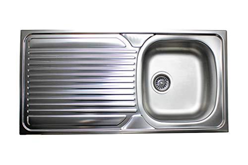 Design Edelstahleinbauspüle 100 x 50 cm Einbauspüle Edelstahlspüle Aufbauspüle 100x50 cm + Siphon zubehör Set Spülbecken Spüle Küchenspüle 1 Becken