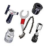 Kits de Herramientas de reparacion de Bicicleta y Bicicletas de montaña,Cortador de Cadena de Bicicleta+Remover de Cadena+Remover de Cordal+Remover de Rueda Libre+Remover de biela