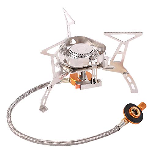 Domaker Windproof Backpacking Stove with Piezeo Ignition,Foldable Camping Stove Propane Butane, 3600W Strong Firepower Lightweight Stove for Outdoor Hiking Cooking