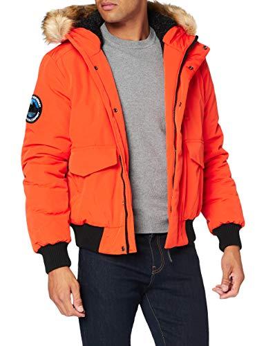 Superdry Mens Everest Bomber Parka, Orange, Medium