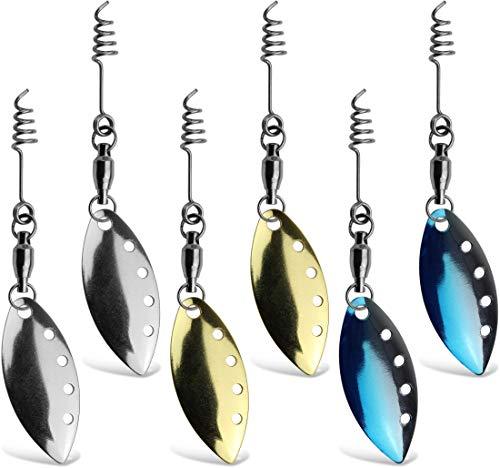 Storfisk fishing & more Spinnerblättchen Kunstköder Gummifisch Zubehör als Set mit Wirbel und Federschraube, Größe:Set 1