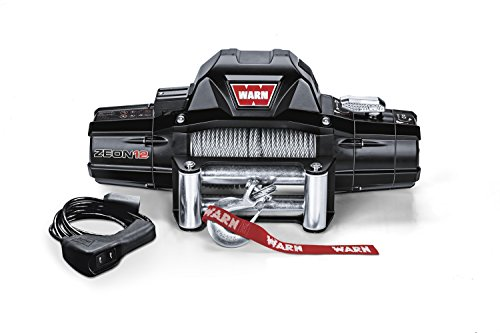 WARN 89120 ZEON 12 Electric 12V Winch with Steel Cable Wire Rope: 3/8' Diameter x 80' Length, 6 Ton (12,000 lb) Pulling Capacity