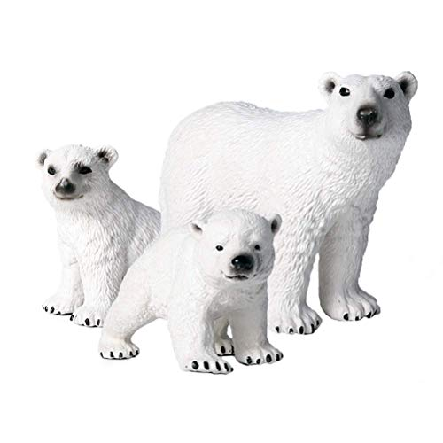 FLORMOON Animal Figures - 3pcs Realistic Polar Bear Action Model - Plastic Wild Animal Learning Party Favors Toys - Educational Forest Farm Toys Birthday Cupcake Topper For Boys Girls Kids Toddlers
