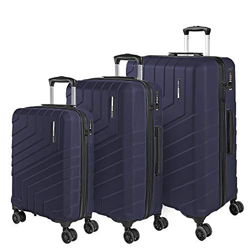 Set Maletas Rigidas - Trolley de Mano de Cabina Grande Mediano de Bodega - Equipaje de Viaje Mango Telescópico de Aluminio - Cerradura TSA y 4 Ruedas Dobles - Perletti Travel (Azul, S+M+L)