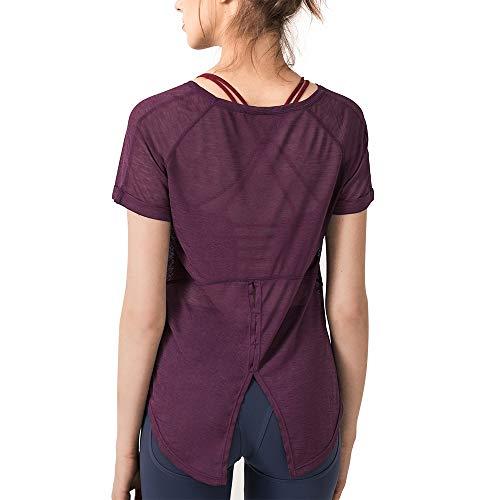 Women's Breezy Workout Shirt Tie Back Yoga Top Summer Tee Quick Dry Short Sleeve