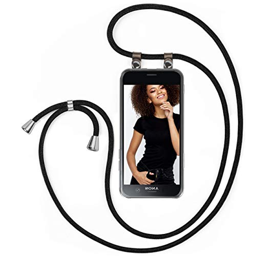 moex Handykette kompatibel mit Sony Xperia XZ1 Compact Hülle mit Band Längenverstellbar, Handyhülle zum Umhängen, Silikon Hülle Transparent mit Kordel Schnur abnehmbar in Schwarz