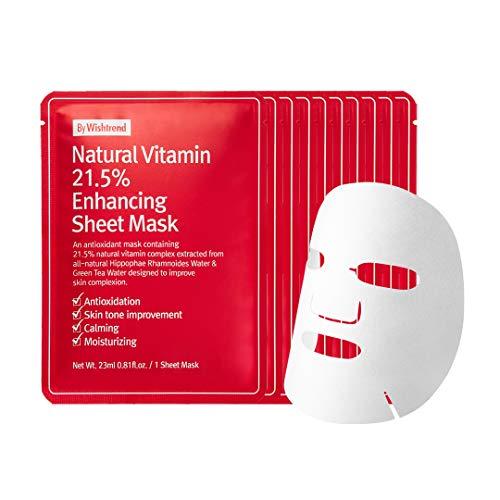 Natural Vitamin 21.5 Enhancing Sheet Mask 10 sheets , fully deliver vitamin to your skin