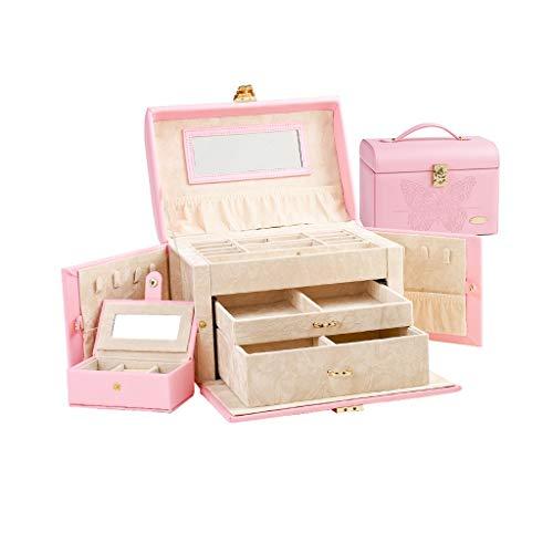 Jcuero Cajas para Joyas Hebilla de Metal Multi-Capa de Capacidad Grande con Collar Perchas Organizador Caja de joyería Anillos Relojes (Color : Pink, tamaño : 7.28 * 10.23 * 7.36)