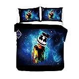 Marshmallow - Juego de ropa de cama con diseño de música DJ Smile de Chris Comstock, estilo de Doctom Alone Rock'n'Roll, máscara festival de DJ (DJ3, 155 x 200 cm)