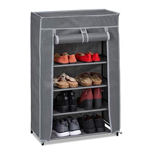 Relaxdays Schuhschrank Stoff, 5 Fächer, 15 Paar Schuhe, Abnehmbarer Bezug, Schuhregal, HxBxT: 90 x 60 x 30 cm, anthrazit