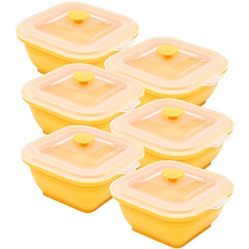 Collapse-it Silicone Food Storage Containers 6-piece Rectangle Set Size - 2 Cups Each 12 Cups Total Oven Microwave and Freezer Safe