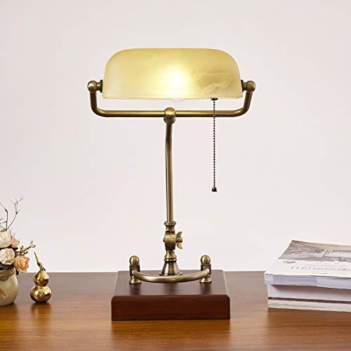 QJUZO Lámpara de Escritorio Banquero, Lámpara de Banquero Vintage Blanca, Antigua E27 Lámpara de Oficina, Ajustable Pantalla de Vidrio, con Interruptor, Base de Latón, Acabado de Latón