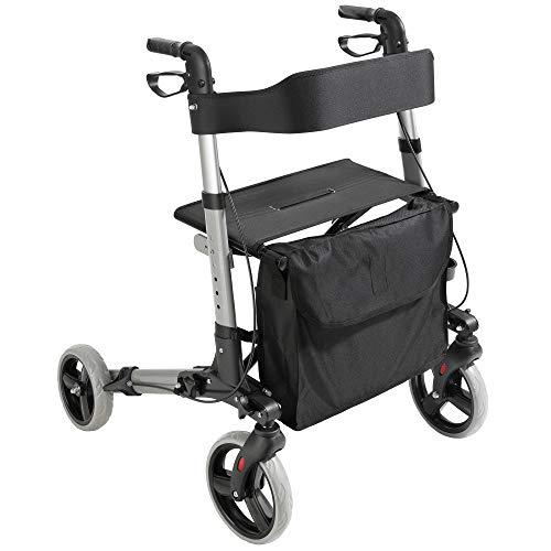 Arebos Leichtgewicht Rollator Aluminium/Faltbar/Griffhöhe einstellbar/abnehmbare Tasche/Stockhalter/Schwarz