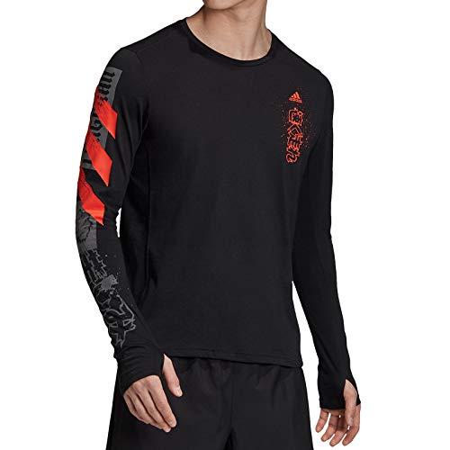 adidas Fast GFX LS tee Camiseta de Manga Larga, Hombre, Negro, L