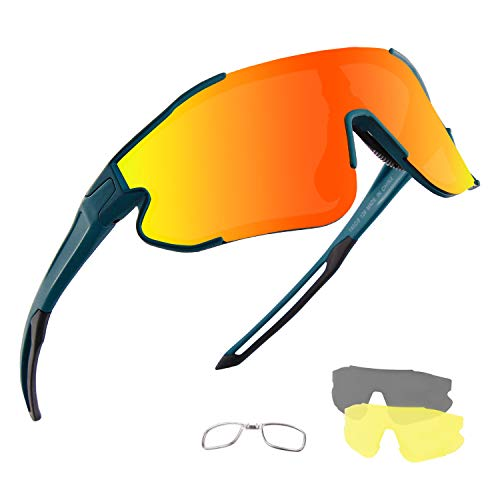 DUDUKING Fahrrad Sonnenbrille Sportbrille Sonnenbrille für Herren und Damen mit 3 Wechselobjektiven UV400 Schutz Windschutz Radsportbrille für Outdooraktivitäten Autofahren Fischen Laufen Wandern