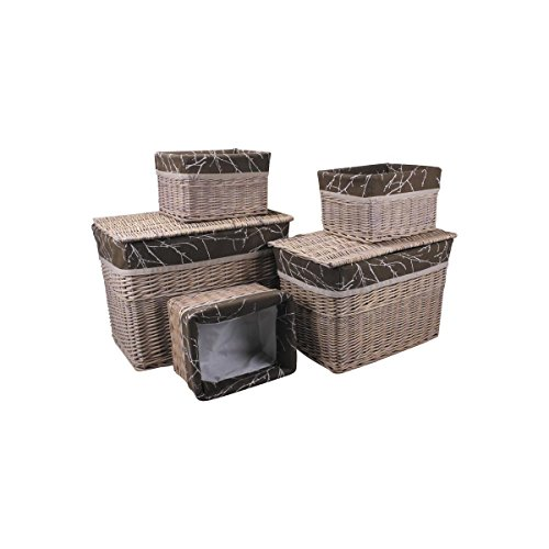 Aubry Gaspard - 2 scatole portaoggetti + 3 cestini in vimini tinto
