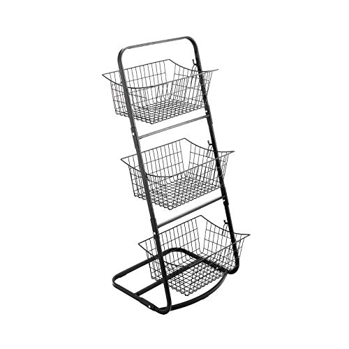 EAXBUX 3 Tier Metal Market Basket Stand Storage Shelves for Fruits and Vegetables Organize Hanging Storage Bin for Kitchen,Bathroom Tower Baskets