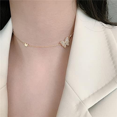 N/A Collar Madre Coreana Mariposa Collar De Acero Inoxidable Estudiante De Moda Arco Colgante Cadena De Clavícula Regalo Parejas Y Amigos