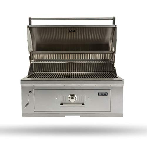 Coyote 36-Inch Built-in Charcoal Grill - C1CH36, Stainless Steel, 875 sq. in. Cooking Area