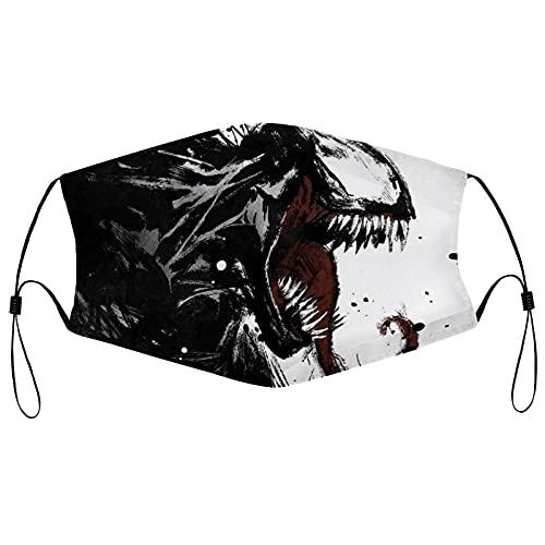 Best-design Venom - Máscara de ajuste para adultos, protección facial portátil, bandana, borde elástico, pasamontañas