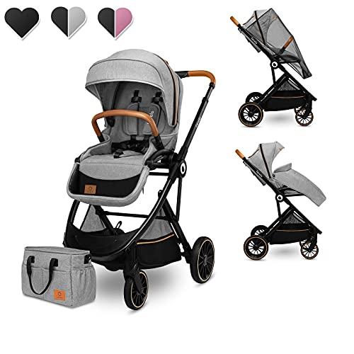 Lionelo Riya silla de paseo desde 15 kg asiento orientado en el sentido de la marcha o a contramarcha capota XXL con material protector solar ruedas PU grandes (Gris)