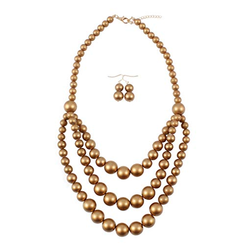 YAZILIND Exaggerated Multilayer Necklace Earrings Women's Strand Necklaces Party Jewelry Set(Gold)