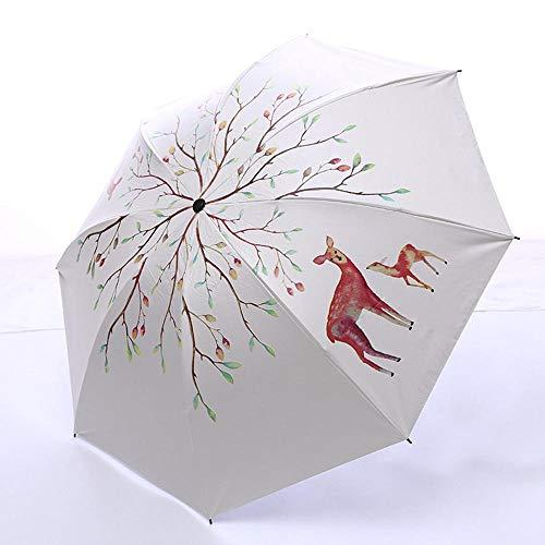 Schilderij herten dame paraplu waterdichte draagbare potlood reizen paraplu mannen mini tas witte paraplu