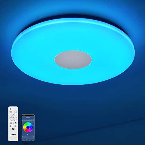 Plafonnier Bluetooth 18 W Ø 30 cm Plafonnier LED avec haut-parleur, télécommande et application de contrôle JDONG RGB Changement de couleur, intensité variable, étanche IP44