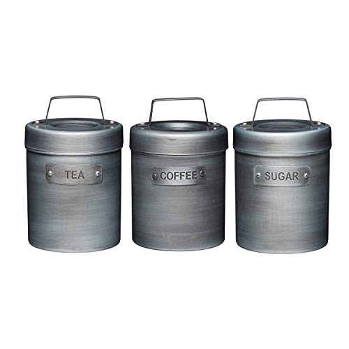 KitchenCraft Industrial Kitchen Sugar, Tea and Coffee Canisters, Metal, 3 Pieces
