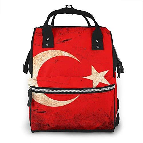 Bolsa de pañales de la bandera turca impermeable multifuncional bebé cambiador bolsas de maternidad bolsas de pañales duraderos de gran capacidad para mamá papá viaje bebé cuidado