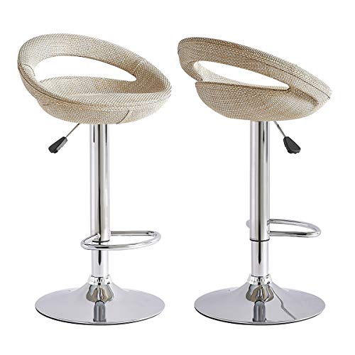 Set of 2 Bar Stools Rattan Seat Breakfast Bar Stool Counter Kitchen Swivel Adjustable Height Chrome Base Bar Chairs (Beige (Low Back))
