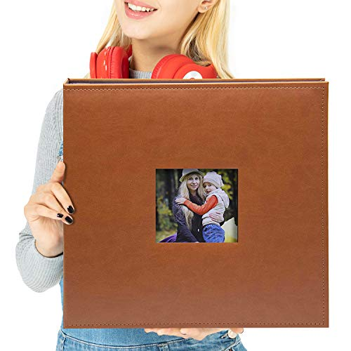 Golden State Art, Magnetic Self-Stick Page Photo Album, Self Adhesive Leather Cover Albums Holds 3X5, 4X6, 5X7, 6X8, 8X10 Photos-12.8 x 13.2 Inch ( Brown 40 Pages)