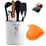 Kitchen Utensils Holder with Silicon Glove Included Cooking Tool Caddy for Counter  Kitchen and Cooking  Organizer Utensil Crock Farmhouse Decorations Accessories Vintage Design Storage Solution
