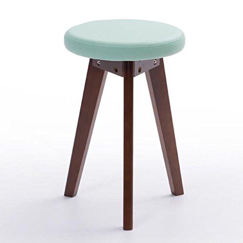 Rollsnownow Idées de mode petit banc coussin vert Tabouret de retour maison tabouret rond (Color : Brown wooden frame)