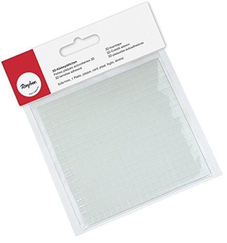 Rayher Hobby 3319900 3D-Klebeplättchen, Plättchengröße: 5 x 5 mm,1 mm stark, auf 100 x 100 x 1 mm Platte, quadratisch, beidseitig klebend, säurefrei
