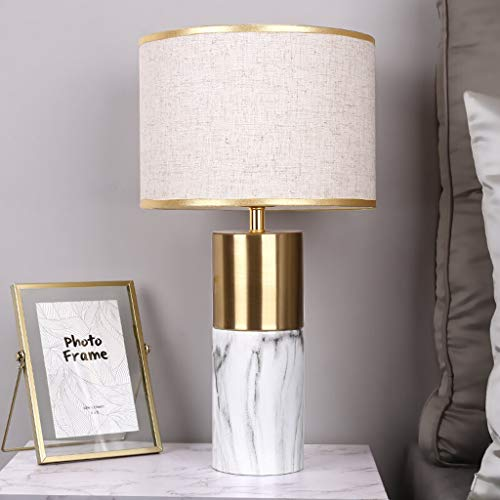 Zunruishop Modern Table Lamps White Drum Shade For Living Room Bedroom Bedside Nightstand Office Family (Color : Remote control)