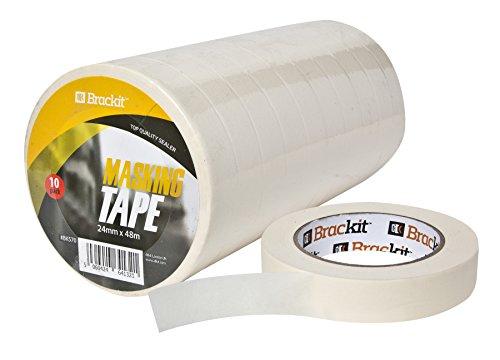 10er-Pack Abklebeband Malerband 24mm x 48m je Rolle Kreppband Abdeckband weiß für Lackierarbeiten und Malerarbeit