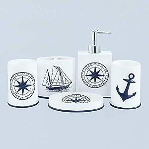 41kgSsh6t-L._SS300_ Coastal & Beach Bathroom Accessories Sets
