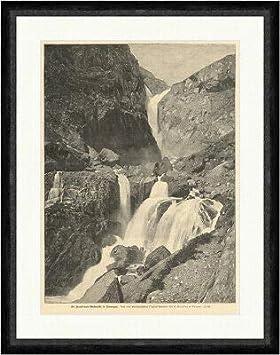 Kunstdruck Las cascadas Rembisdals en Noruega Knudsen de roca Faksimile_E 15369