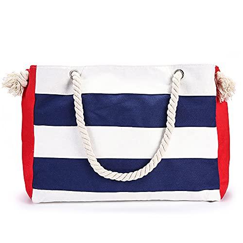 Bolso grande de lona para playa, diseño de rayas, bolso de hombro grande, bolso de hombro para el comprador de verano
