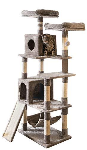 Mwpo キャットタワー 猫タワー 麻紐 スロープ付き ハンモック ストレス解消 165cm 匂いなし 048B