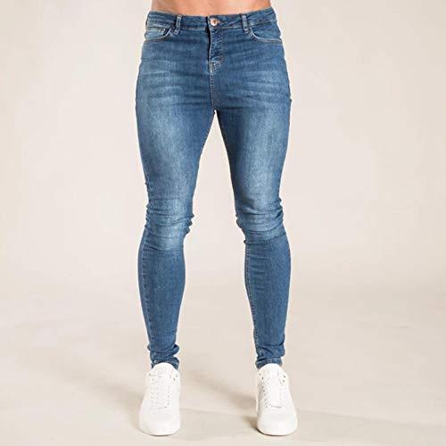 Pantalones Jeans Skinny Jeans Hombres Pure Color Denim Cotton Classics Vintage Wash Hip Hop Work Pantalones Pantalones S-4Xl Tallas Grandes Primavera Otoño Jeans XXL Azul Oscu