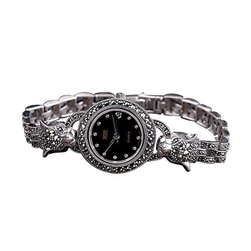 Jade Angel Reloj de mujer de plata de ley 925 Tailandia estilo vintage leopardo marcasita señoras reloj de pulsera joyería fina