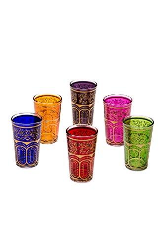 Copas de té decoradas orientales Set 6 copas Laylana multicolor claro - Cristales de té marroquí 6 colores decoración oriental - 6 x vasos de té de Marruecos Oriental decorado - diferentes modelos