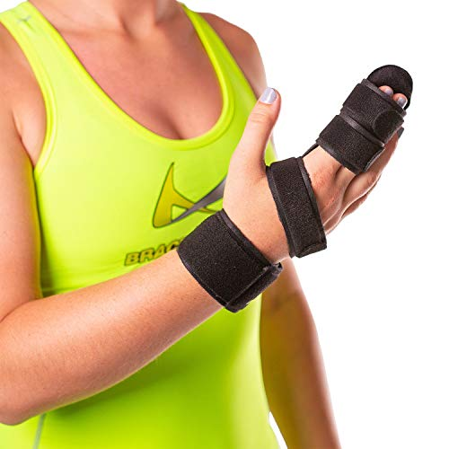 BraceAbility Two Finger Immobilizer - Hand and Buddy Splint Cast for Broken Joints, Mallet or Trigger Finger Extension, Sprains and Contractures to Straighten Middle, Index and Pinky Knuckles (S)