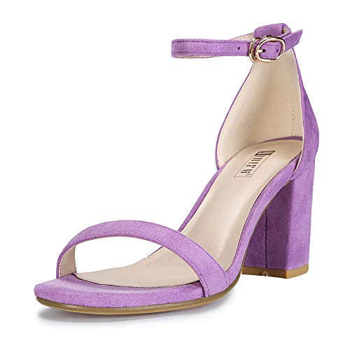IDIFU Women's Cookie-MI Block Heels Sandals 3 Inch Chunky Open Toe Ankle Strap Wedding Dress Pump Shoes (Lavender Suede, 10 B(M) US)