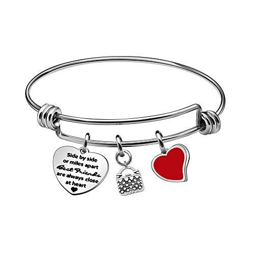 KENYG Pulsera ajustable de plata para mujer con forma de corazón o de Miles Apart