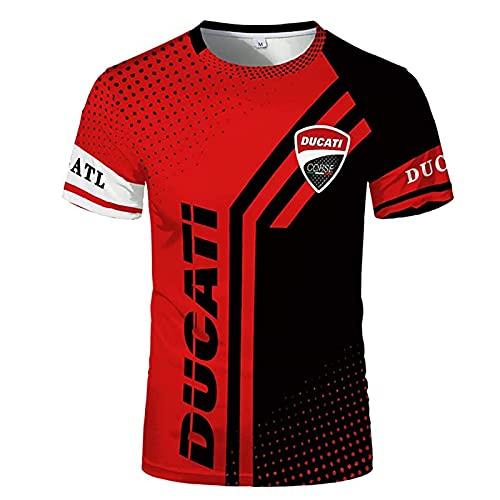 QIZIFAFA 3D Hemden Für Männer, Sommer Rundhalsausschnitt Kurzarm Ducati Bedruckte Punkte Kontrastfarbe T-Shirt Trendy, Kurzarm Harajuku Sporthemd,Rot,XL/X~Large