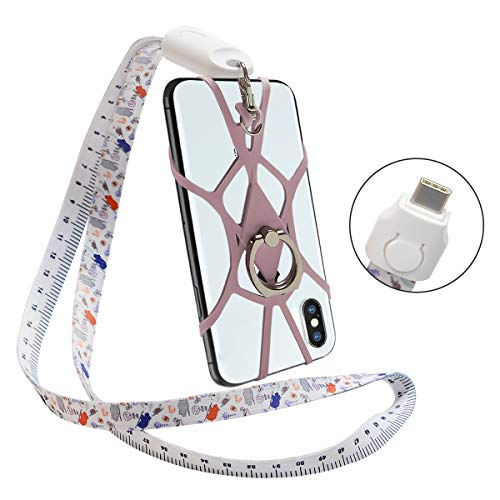 SHANSHUI Type-C Charging Cable, 4 in 1 Cell Phone Lanyard, Fast Charging Cord Stand Ring 3A Nylon Braided Lanyard Compatible with Samsung Galaxy S9 Note 9,Nintendo Switch (Type C-Pink)